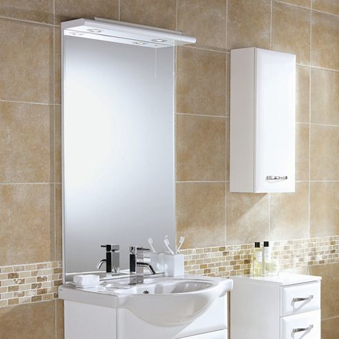 HIB Sorrento / Denia Mirror in White - 107 cm H x 55 cm W x 2 cm D