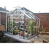 Elite Belmont Greenhouse – 8 x 8 - Natural Aluminium Finish + Double Doors + Black Bar Capping – Toughened Glass