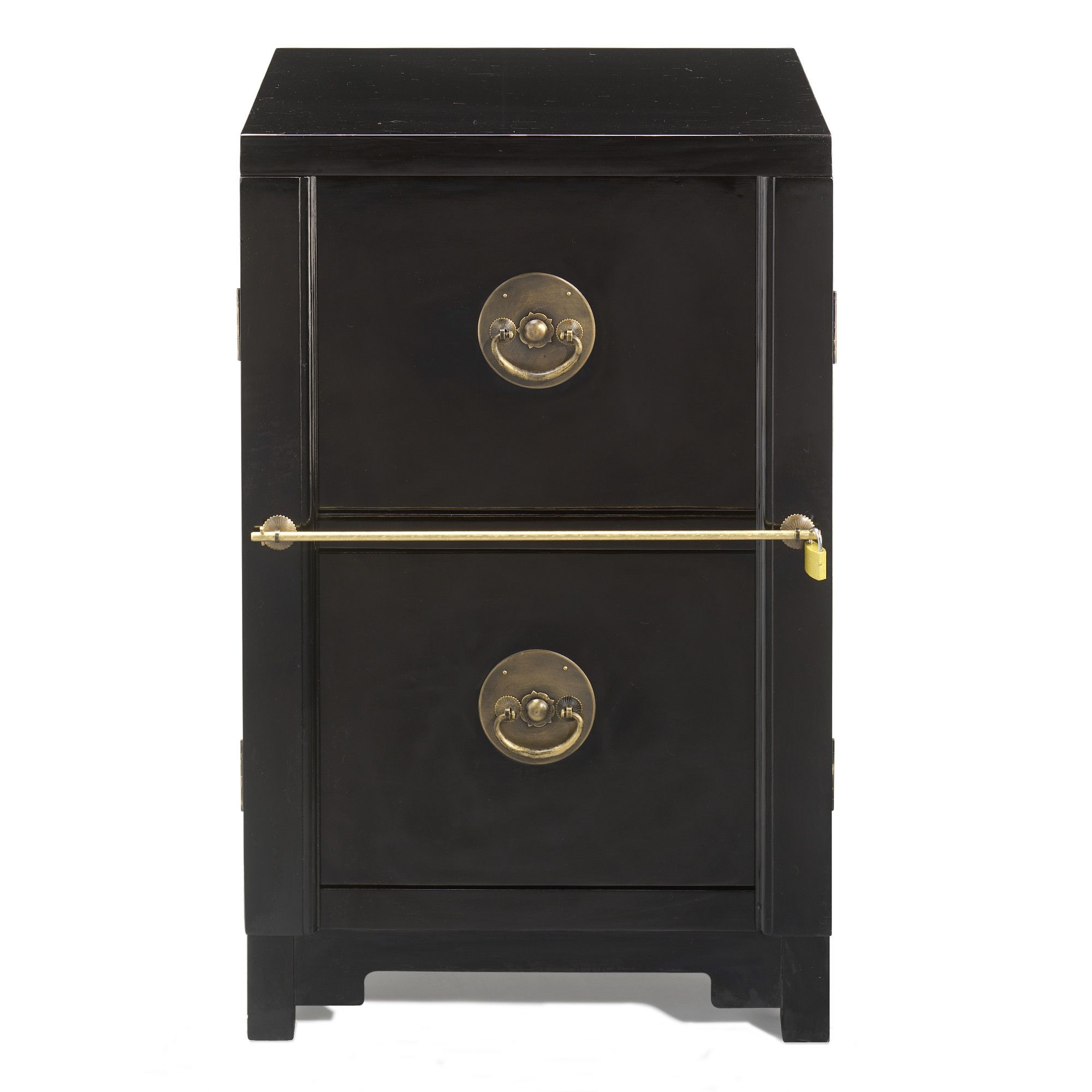 Shimu Chinese Classical Two Drawer Filing Cabinet - Black Lacquer at Tesco Direct