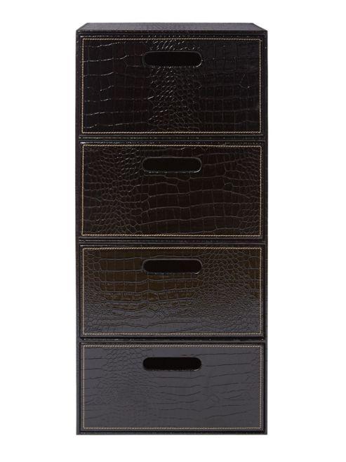 Biba Black Mock Croc Storage Unit