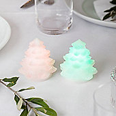 Pair of Battery Colour Changing LED Mini Glitter Christmas Tree Candles