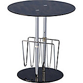 Home Essence Black Glass Magazine Table