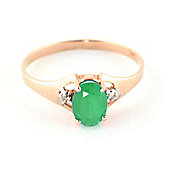 QP Jewellers Diamond & Emerald Oval Desire Ring in 14K Rose Gold