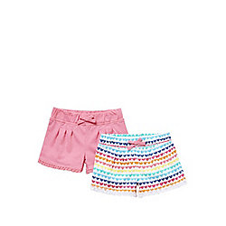 F&F 2 Pack of Lace Trim Jersey Shorts 09 - 12 months Multi