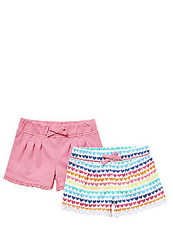 F&F 2 Pack of Lace Trim Jersey Shorts - Multi