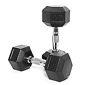 Body Power Rubber Hex Ergo Dumbbells - 10Kg (x2)