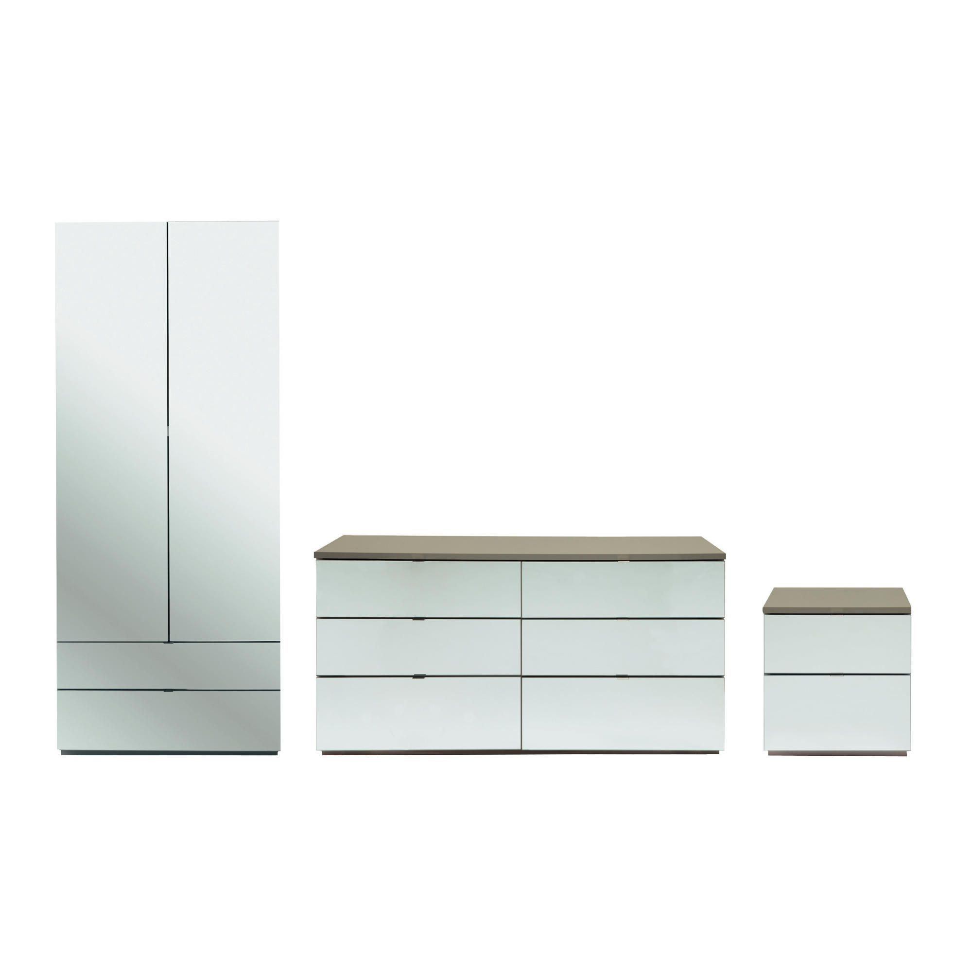 Palermo Package 2 Taupe (Wardrobe, Bedside, 6 Drawer Chest)-Mirrored at Tesco Direct