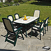 Nardi Toscana 7 Piece Rectangular Dining Set - Green
