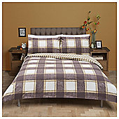 Tesco Checked Brushed Cotton Duvet Cover And Pillowcase Set, Brown, Single