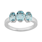 Gemondo Sterling Silver 3.14ct Natural Blue Topaz Classic Three Stone Style Ring