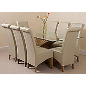 Valencia Glass & Oak 200 cm Dining Table with 8 Ivory Montana Leather Chairs