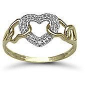 Jewelco London 9 Carat Yellow Gold 2pts Diamond Heart Ring