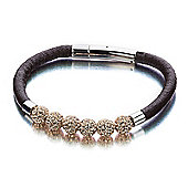 Shimla Unisex Leather Bracelet with Rose Gold Fireballs - SH-145