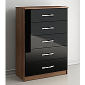 Birlea Lynx Five Drawer Chest - Black and Walnut