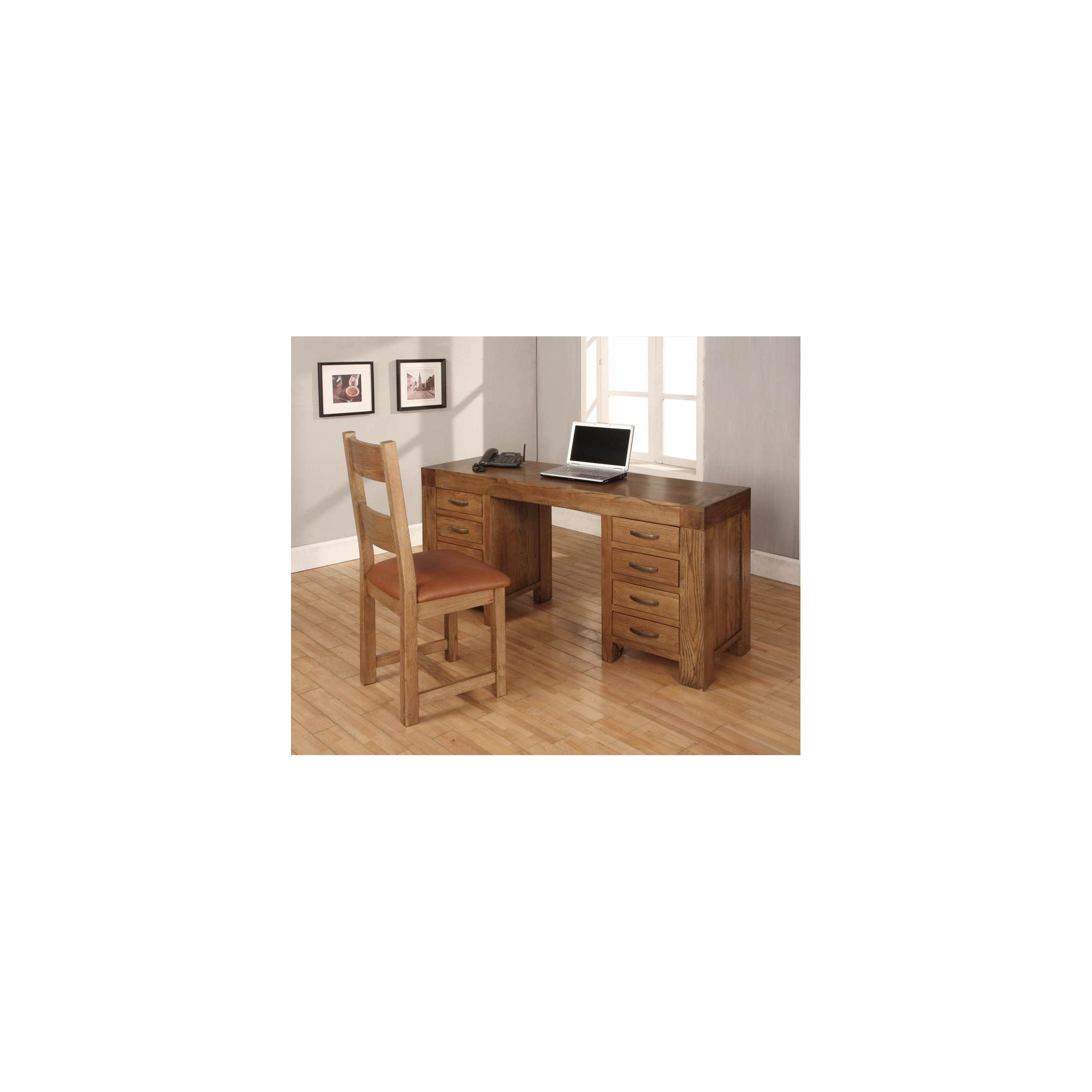 Hawkshead Eight Drawers Desk Dressing Table in Rich Patina at Tesco Direct