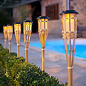Pair of Solar Powered LED Bamboo Garden Torches