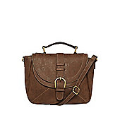 F&F Buckle Detail Distressed Cross-Body Bag One Size Chocolate