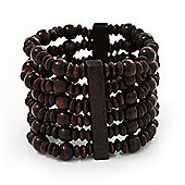 Dark Brown Multistrand Wood Bead Bracelet - up to 18cm wrist