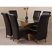 Valencia Glass & Oak 160 cm Dining Table with 6 Brown Montana Leather Chairs