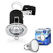 Pack of Ten MiniSun Fire Rated 5W Daylight LED GU10 Downlights in Chrome