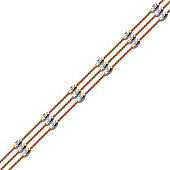 Jewelco London Rhodium & Rose Coated Sterling Silver Raindrop Bead Bracelet - Ladies Size