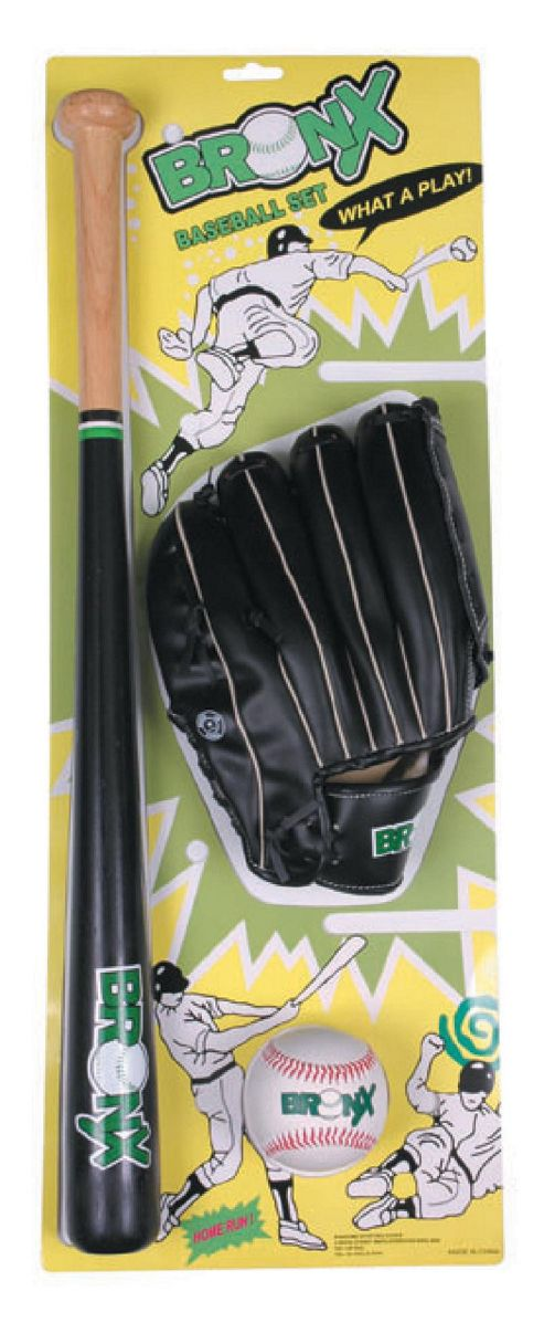 Bronx Baseball Set with Wooden Bat, Ball & Glove