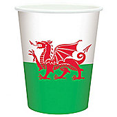 St David's Welsh Flag Paper Cups - 260ml Paper Party Cups, Pack of 8