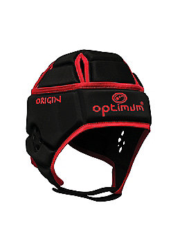 Optimum Origin Rugby Headguard Scrum Cap Protection - Black / Red - Black
