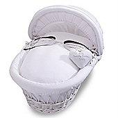 Izziwotnot Premium Gift White Wicker Moses Basket (White)