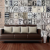 Creative Collage Typography Designer Wall Mural - 64 Piece