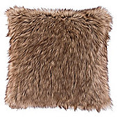 Warm Brown Faux Fur Cushion