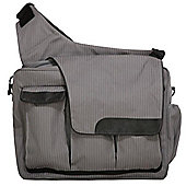 Diaper Dude Flap Messenger II Changing Bag Grey Pinstripe