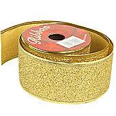 Ribbon Glitter Wired Edge - 5cm x 10y - Gold