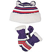 Bunting Infant Hat and Mitten Set - Pink