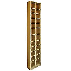 Tall Sleek CD DVD Media Storage Tower Shelves - Oak