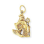 Jewelco London 9ct Light Yellow Gold - Aquarius Charm Pendant -