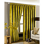 Riva Home Imperial Velvet Woven Pencil Pleat Lined Curtains, Sage Green, 90 x 72 Inch