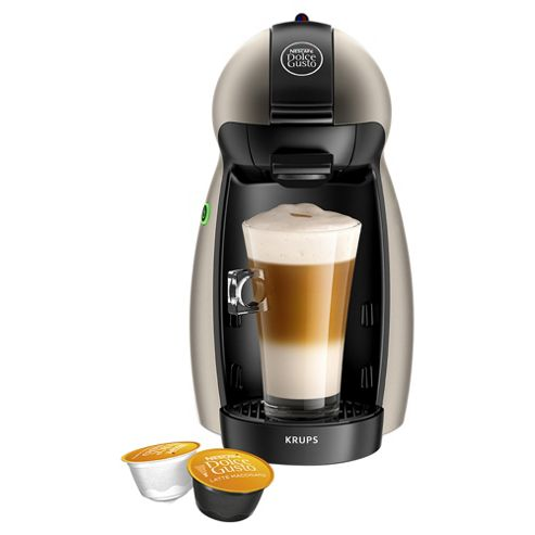 NESCAFE Dolce Gusto Piccolo Manual Coffee Machine, by Krups, Titanium