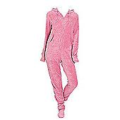 Adult Hooded Footed Pyjamas - Plush Pink
