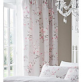 Canterbury, Grey Rose Floral Pencil Pleat Curtains 72s