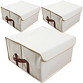 Arca - Low Folding Canvas Storage Box - Pack Of 3 - Beige / Brown
