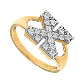 Jewelco London 9ct Gold Ladies' Identity ID Initial CZ Ring, Letter X - Size J
