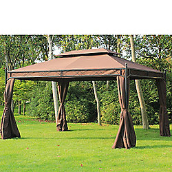 Outsunny 3m x 4m Garden Metal Gazebo Marquee Shelter with Sidewalls Pavilion