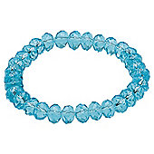 Aquamarine Glass Bead Stretch Bracelet