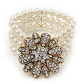 Vintage Multistrand White Glass Pearl 'Flower' Flex Bracelet - up to 20cm Length