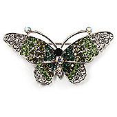 Green Crystal Butterfly Brooch (Silver Tone)
