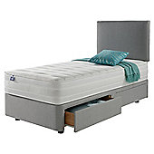 Silentnight Mirapocket 1200 Ortho Memory 2 Drawer Single Divan Light Grey with Headboard