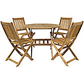 Bentley Garden Solid Wood Furniture Patio Octagonal Table & 4 Chairs 5Pc Set