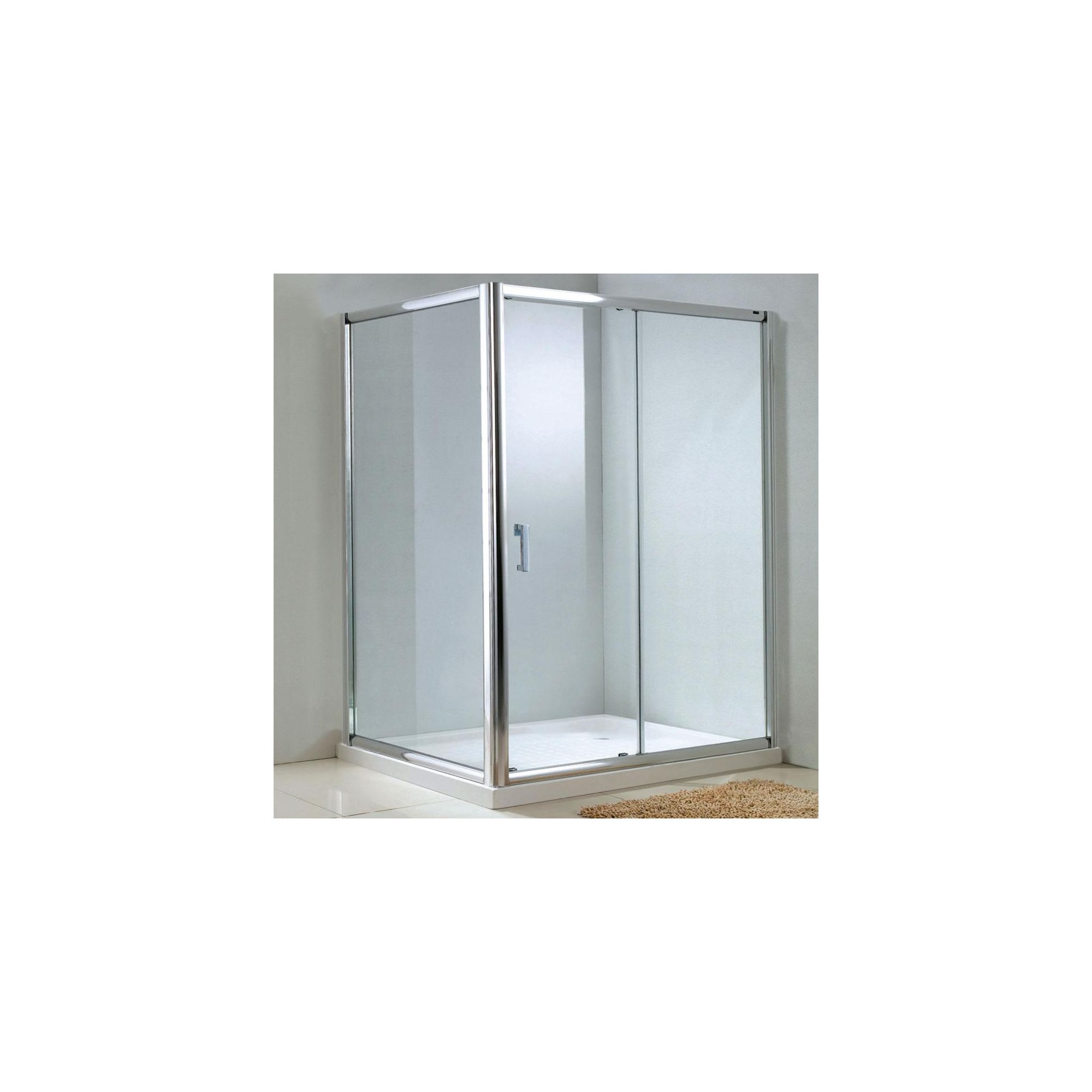 Duchy Style Single Sliding Door Shower Enclosure, 1100mm x 800mm, 6mm Glass, Low Profile Tray at Tesco Direct
