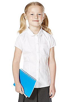 F&F School Girls Embroidered Pocket Blouse - White
